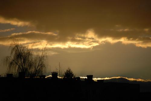 Grudniowe niebo - przed zachodem słońca