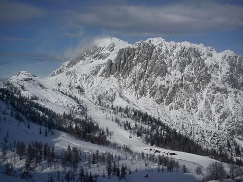 Jesteśmy na Garnitzen, widok probably :) na Rosskofel #Alpy #Austria #Narty #Nassfeld