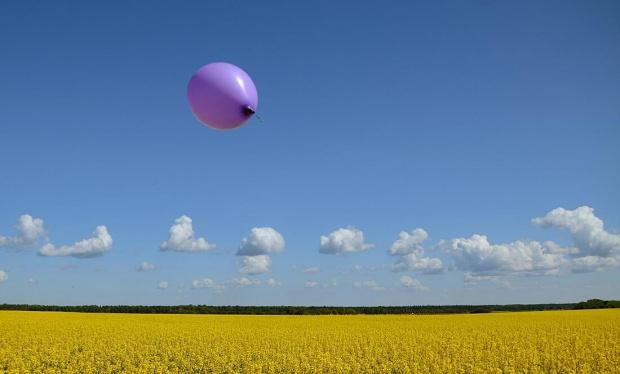 Rzepakowy landszafcik ... #rzepak #balon #pola #niebo #chmury #obłoczki