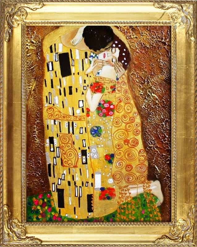gustav klimt der kuss 47x37 lgem lde handgemalt leinwand rahmen signiert g06154 ebay. Black Bedroom Furniture Sets. Home Design Ideas