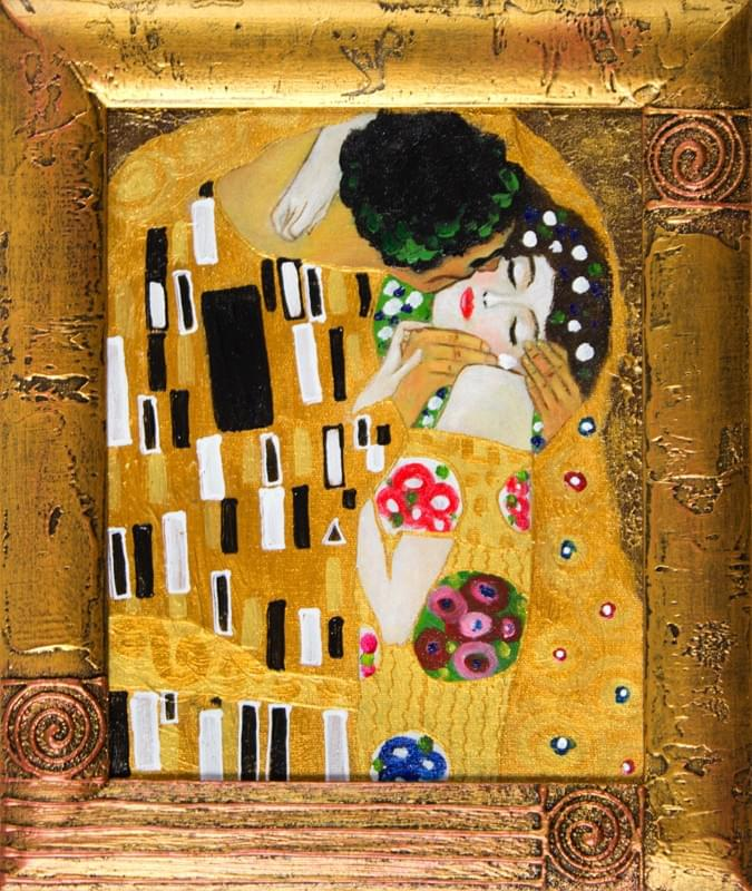 gustav klimt der kuss 32x27 lgem lde handgemalt leinwand rahmen signiert g04340 ebay. Black Bedroom Furniture Sets. Home Design Ideas